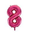 Cijfer 8 folie ballon roze van 92 cm