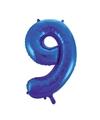 Cijfer 9 folie ballon blauw van 92 cm