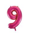 Cijfer 9 folie ballon roze van 92 cm