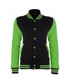 College jack zwart fluor groen voor dames