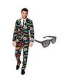 Comic print heren kostuum maat 56 xxxl met gratis zonnebril