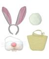 Complete paashaas accessoires set wit voor volwassenen