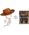 Cowboy accessoire set bruin voor kinderen