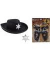 Cowboy accessoire set zwart voor kinderen