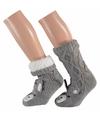 Dames huissokken kabel met 3d konijn grijs