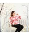 Dames kersttrui met nordic patroon rood wit