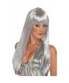 Damespruik disco zilver met pony