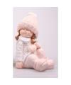 Decoratie beeldje kind meisje in winterkleding 25 cm