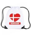 Denemarken hart vlag nylon rugzak wit