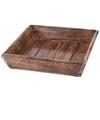 Donker houten dienblad vierkant 25 x 25 x 6 cm