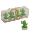 Donkergroene cactus waxinelichtjes set van 4