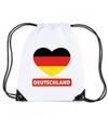 Duitsland hart vlag nylon rugzak wit