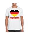Duitsland hart vlag t shirt wit heren