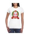 Eenhoorn kerst t shirt wit merry christmas voor dames