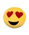 Emoticon kussen smiley met hartjes ogen 30 cm
