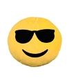 Emoticon kussen smiley met zonnebril 30 cm