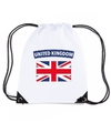 Engeland nylon rugzak wit met engelse vlag