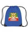 Fast freddy het luipaard rugtas gymtas blauw voor kinderen