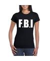 Fbi tekst t shirt zwart dames
