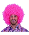 Fel roze afro pruik