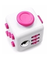 Fidget cube wit roze 4 cm