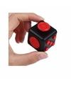 Fidget cube zwart rood 4 cm