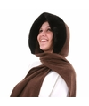 Fleece capuchon sjaal met nepbont donkerbruin voor dames