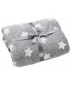 Fleece deken grijs met sterren print 130 x 160 cm