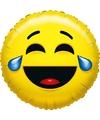 Folie ballon huilen van het lachen smiley 45 cm