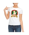 Foute kerst t shirt wit touch my jingle bells voor dames