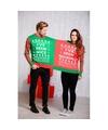 Foute kersttrui voor twee personen met grappige tekst