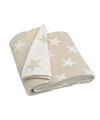 Gebreide deken plaid beige met sterren 152 cm