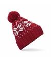 Gebreide rode nordic print muts met pompon voor meisjes