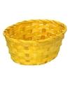 Geel gevlochten mandje ovaal 24 cm