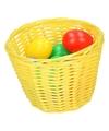 Geel paasmandje met gekleurde eieren 14 cm