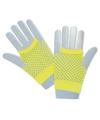 Gele korte visnet handschoenen voor volwassenen