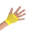 Gele rocker punker korte visnet handschoenen voor volwassenen