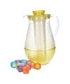 Gele schenkkan met koelfunctie en 10 ijsblokjes