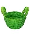 Gevlochten opbergmandje groen 15 x 18 cm