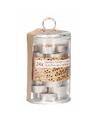 Glazen pot met 24 sandelhout geur theelichtjes