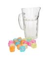 Glazen schenkkan met 20 ijsblokjes