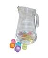 Glazen waterkan 1 3 liter met ijsblokjes