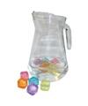 Glazen waterschenkkan 1 3 liter met ijsblokjes