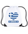 Griekenland hart vlag nylon rugzak wit