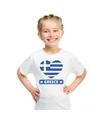 Griekenland hart vlag t shirt wit jongens en meisjes