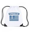 Griekenland nylon rugzak wit met griekse vlag