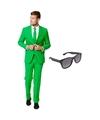 Groen heren kostuum maat 56 xxxl met gratis zonnebril