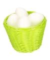Groen paasmandje met plastic eieren 14cm