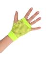 Groene korte rocker punker visnet handschoenen voor volwassenen