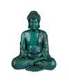 Groene zittende boeddha beeld 30 cm